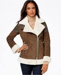 michael michael kors michl michl kors faux leather trim faux shearling moto jacket