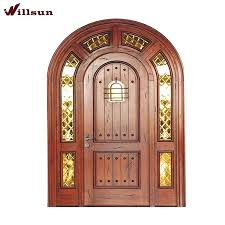 wooden door design round top design double wood doors with high quality glass decoration round