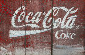 vintage retro number wall ad sign red paint graffiti eroded coca cola font art advertisement retro