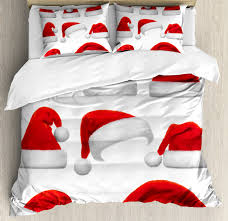 king size duvet cover set set of classical hats xmas new year celebration tradition party theme decorative 3 piece bedding set with