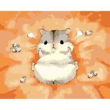 Tranh tô màu theo số sơn dầu số hóa Con Chuột Hamster Dễ Thương - Tranh sơn  dầu Thương hiệu OEM