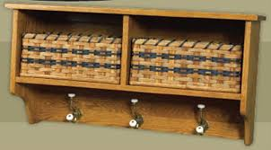 Oak Coat Rack With Baskets Fascinating Amish Oak Furniture Two Basket And Three Hook Coat Shelf Delivery