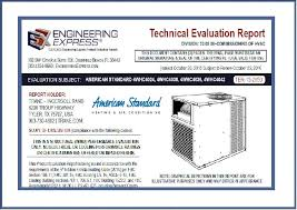 Evaluation Report Amazing American Standard Trane 44WHC Package Unit Technical Evaluation