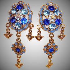 chandelier earrings blue crystal and rhinestone clip on earrings vintage shoulder duster rhinestone