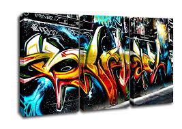 urban 3 panel graffiti abstract art canvas art