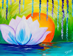 Easy Canvas Painting Lotus Flower Dawn Zen Acrylic Painting Easy Canvas Ideas For The