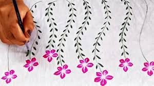 Easy Floral Designs To Paint Five Petal Flower Design On Fabric Easy Fabric Painting Project For Beginners