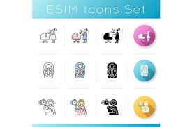 Available in png and svg formats. Babysitting Services Icons Set Flat Icon Set Mother Parent Transporting Child Baby Kid Toddler Di 2020