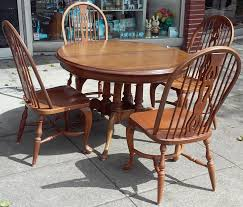 sold 13887 english oak dining set 44 diameter table 4 chairs 95