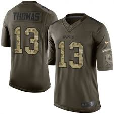 Elite Orleans Football 13 Saints Men's New Jersey To Salute Michael Sale Green Thomas Service