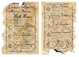 stock photo worn pages of old book with magic spells occult esoteric divination and wicca concept vine background with moon phases and hand writing