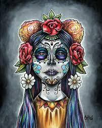 print drawing painting sugar skull