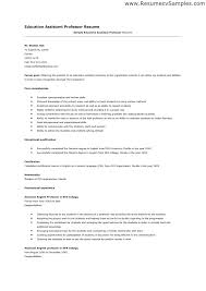 Resume Format For Experienced Assistant Professor Resume Template