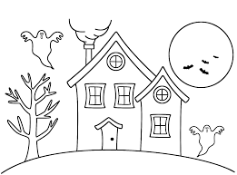 Small Picture Haunted House Coloring Page Halloween