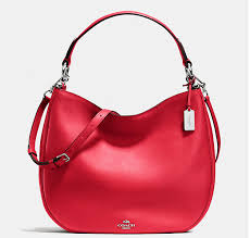 Coach Nomad Hobo in Glovetanned Leather Silver Red