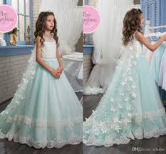 2017 Mint Green 3d Butterfly Floral Appliques Girl Pageant Dresses