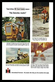 lawncare ad ih cub cadet tractor riding lawnmower 1965 lawn care ad