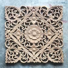 lotus carved wood wall art panel from bali siam sawadee wood carving wall art australia  on teak wall art australia with teak sculpture thai wall hangings table mounts free standing teak