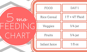 5 Month Old Baby Solid Food Chart Free Printable 5 Month Old Feeding Chart Strong Mama