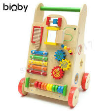 wooden baby kids walker toddler push activity play toy al instruments gift
