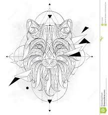 сделанная по образцу голова лисы с геометрией иллюстрация вектора