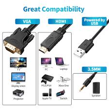 Cable HDMI a VGA Adaptador macho a hembra HDMI Audio Video Convertidor  Longitud de 1.8 Metros Compatible para ordenador, escritorio, portátil, PC,  monitor, proyector, HDTV, Raspberry Pi, Roku, Xbox y más