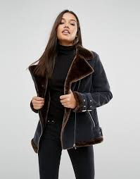 missguided missguided faux fur lined aviator jacket women black chocolate