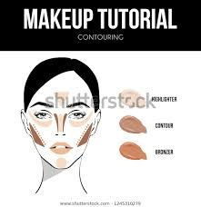 Makeup Tutorial Contouring Contour Highlight Bronze Stock