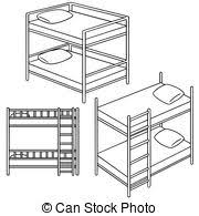 Cartoon bunk bed eps vector Search Clip Art Illustration