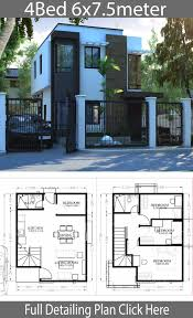 Small Home design plan 6x7.5m with 4 Bedrooms - Home Design with Plansearch  | Modern house plans, House projects architecture, House layout plans