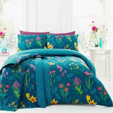 wild flowers fl geometric teal super king duvet cover for