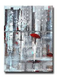 GICLEE PRINT Art Abstract Painting Girl Red Umbrella City Modern Canvas  Prints Wall Art Sizes to
