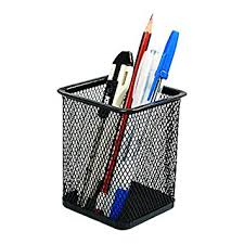 Painted Iron Wire Mesh Pen Holder/Container, Black