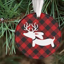 Plaid Christmas Tree Plaid Reindeer Dachshund Christmas Tree Ornament