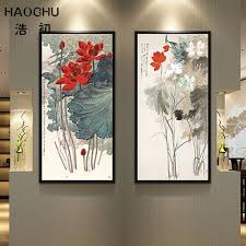 haochu traditional chinese ink painting beautiful lotus flower pond abstract canvas pictures wall art for living on lotus flower canvas wall art with haochu traditional chinese ink painting beautiful lotus flower pond