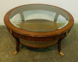 small round mahogany coffee table with glass top brass legs and with round coffee table mahogany