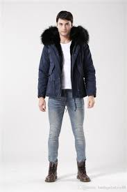 2019 high quality dark blue coat black fur real big rac fur collar fur jacket men winter outerwear fur parka from bandagefactory88 121 83 dhgate com