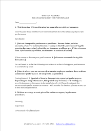 Employee Performance Letter Sample Work Performance Warning Letter Templates At