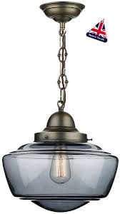 david hunt stowe retro smoked glass pendant light antique brass