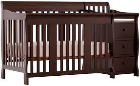 com storkcraft portofino 4 in 1 fixed side convertible crib and changer espresso easily converts to toddler bed day bed or full bed