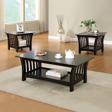 furniture of america ord 3 piece black asian hardwood accent table set