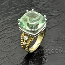 <b>Green Amethyst</b> Ring in 14KT Gold With Diamonds - Gemfix