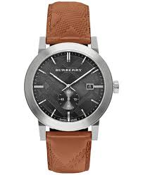 burberry men s swiss chronograph the city brown leather strap burberry men s swiss chronograph the city brown leather strap timepiece 42mm bu9905
