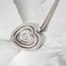 chopard happy diamonds 18k white gold medium pave diamond heart pendant necklace