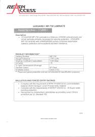 series product data sheet for level 1 lexan