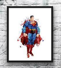 superman watercolor print poster