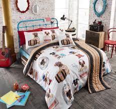 comic pug bedding twin full queen duvet cover set ensemble funny dog scenes