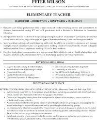 Sample Teaching Resume Elementary Teacher For Examples Teachers