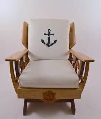 mid century nautical theme platform rocking chair the chair has loose vinyl cushions