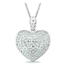heart pendant necklace clear made with crystals medical stethoscope 925 sterling silver